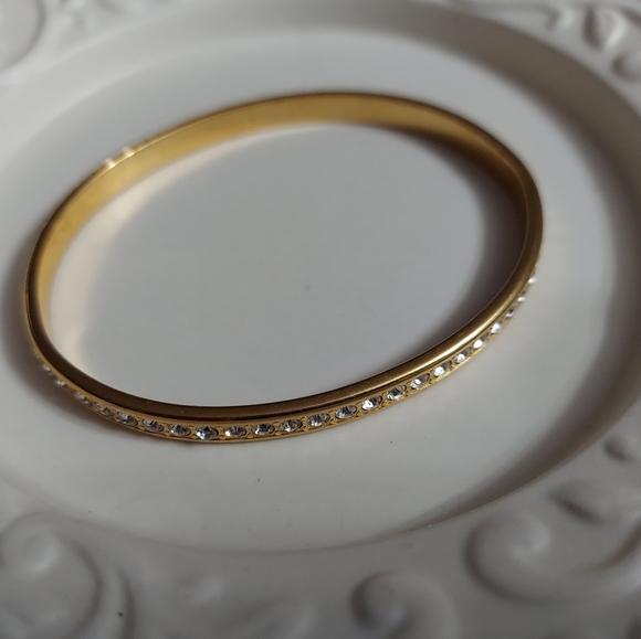Vintage Monet Gold/Faceted Crystal Bangle Bracelet